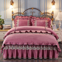 【人气】水晶绒夹棉床裙四件套加厚短毛绒蕾丝床罩4件套双人被套床上用品【】