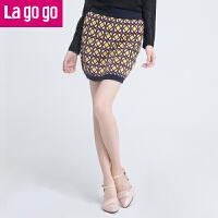 lagogo复古针织裙高腰半身裙女装修身显瘦短裙新款包臀裙一步裙