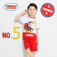【抢】托马斯正版童装男童夏装时尚印花短袖T恤+短裤套装两件套(三色可选)