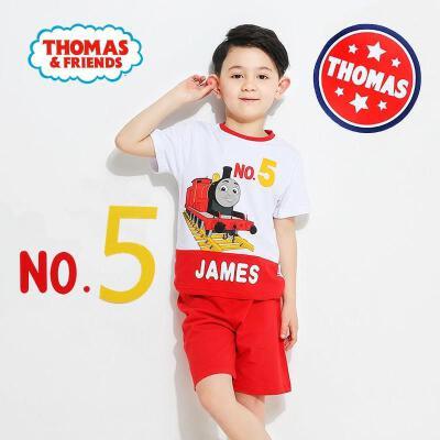 托马斯正版童装男童夏装时尚印花短袖T恤+短裤套装两件套(三色可选)