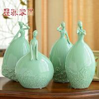 墨菲 美式创意美少女陶瓷摆件现代简约客厅家居结婚庆装饰工艺品