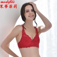 茉蒂菲莉 文胸 女士新款无海绵全罩杯有钢圈蕾丝小胸罩女式纯色本命年红色深V时尚内衣