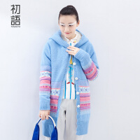 初语 冬季新品 甜美针织连帽中长款毛衣外套女 8540423060
