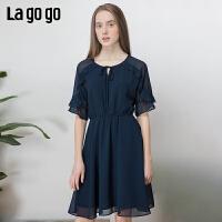 【5折价179】Lagogo2019夏季新款流行裙子蝴蝶结系带雪纺连衣裙女IALL323A34
