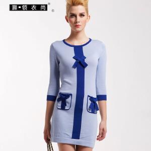 灏领衣尚春装新款铅笔裙有口袋修身长袖打底蝴蝶结针织连衣裙女