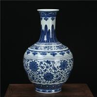 景德镇陶瓷器花瓶 高档手绘青花缠枝赏瓶 中式古典家居摆件工艺品