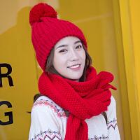 帽子围巾套装女秋冬天潮针织保暖女休闲毛线帽子