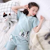 儿童睡衣夏季短袖夏天薄款小孩宝宝女童小女孩子家居服套装