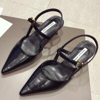 包头凉鞋女细跟高跟鞋夏季2019新款韩版百搭尖头性感黑色后空单鞋夏季百搭鞋