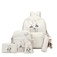双肩包可爱女生帆布书包动物卡通印花子母包中小学生新款双肩背包