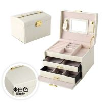 首饰盒欧式公主多层皮革 木质带锁首饰分格收纳盒 珠宝饰品盒