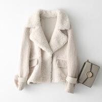 №【2019新款】冬天美女穿的皮毛一体大衣女短款毛线拼接羊剪绒羊羔毛皮草外套
