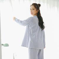 女士睡衣纯棉长袖春秋季空气棉家居服套装甜美可爱格纹居家服秋冬