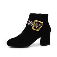 camel 骆驼女鞋 秋冬新款 时尚方头方扣短筒靴子 个性字母扣带女靴