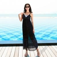 夏季女中长裙吊带V领露背露肩雪纺连衣裙海边度假沙滩裙长裙 深蓝色