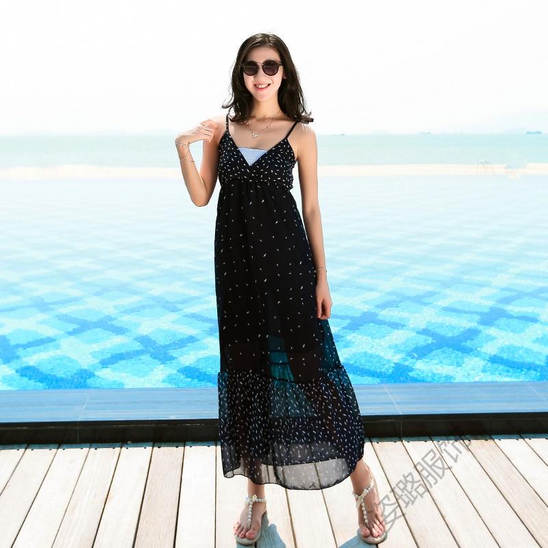 夏季女中长裙吊带V领露背露肩雪纺连衣裙海边度假沙滩裙长裙 深蓝色 发货周期:一般在付款后2-90天左右发货,具体发货时间请以与客服协商的时间为准