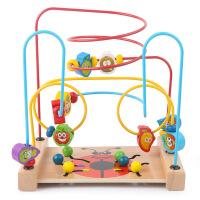 木制多功能时钟齿轮串珠绕珠儿童早教动物水果认知益智玩具
