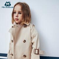 迷你巴拉巴拉女童经典风衣2018秋新款童装女宝宝中长款外套英伦