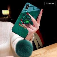 苹果X手机壳iPhone叉保护套ix全包防摔ipx硅胶软萍果10祖母绿个性创意潮牌女新款平果5.8寸 祖母绿+钻+毛球