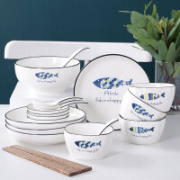 餐具套装 创意简约卡通鱼陶瓷餐具套装北欧风格家用吃饭碗盘子筷组合微波炉可用厨房用品