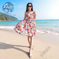 夏季雪纺沙滩裙连衣裙短裙波西米亚海边度假大码吊带肥mm