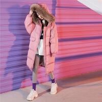 七格格大毛领羽绒服女中长款冬装2018新款韩版加厚时尚面包服外套