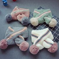 秋冬儿童毛线围巾男童宝宝保暖围脖女童毛球围巾
