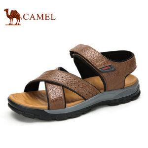 camel 骆驼男鞋夏季日常休闲舒适压纹真皮魔术贴男士凉鞋