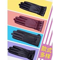 手套女士秋冬季可爱蕾丝保暖开车骑车防寒触屏皮手套