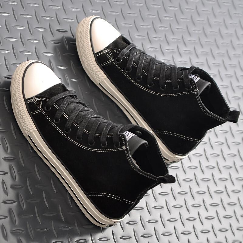 帆布鞋女学生韩版原宿 ulzzang运动板鞋百搭休闲鞋平底高帮鞋 黑色 脚瘦建议拍小一码
