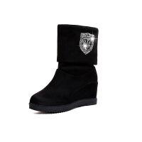 加绒短靴女加绒坡跟内增高女靴子高跟百搭女鞋2019新款中筒靴女冬