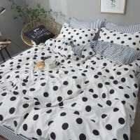 20191106181931001四件套北欧风橙子被套单人学生宿舍床单三件套4小格子床上用品 白色 黑白经典