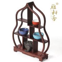 实木紫砂茶壶架子工艺品摆件茶叶架 红木小博古架 鸡翅木质展示架