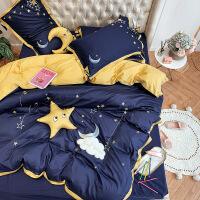 【人气】ins小清新蓝色星星刺绣纯全棉被套60支贡缎1.8m北欧风床上四件套 晚安 蓝
