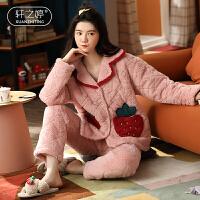 轩之婷 冬季睡衣女加厚珊瑚绒学生可爱三层夹棉韩版家居服保暖套装冬天
