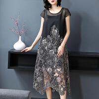 夏季新款女装2018短袖圆领中长款不规则刺绣连衣裙配吊带背心GH154 黑色