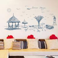 夏日沙滩墙贴纸卧室温馨客厅过道走廊背景墙壁贴画墙上贴纸可移除