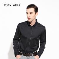 TONYWEAR汤尼威尔春季商务休闲男士棉锦弹高密素色长袖衬衣热销