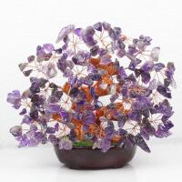 天然粉紫黄水晶树招桃花稳固爱情招人气贵人礼物