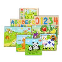 木制拼图玩具数字母幼儿童开发智力小孩益智1-2-3-4岁女宝宝男孩