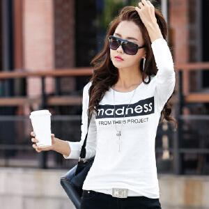 春装新款女装宽松体恤潮韩版棉卫衣长袖字母打底衫上衣WK0028