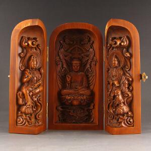 天然黄杨木精雕西方三圣摆件