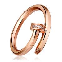 韩版时尚百搭钛钢钉子戒指 日韩潮人食指指环情侣戒 时尚玫瑰金色钛钢戒指女