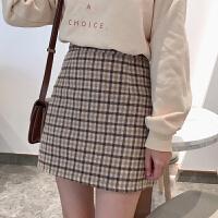 超火裙子格子半身裙秋冬女新款韩版高腰毛呢A字裙chic短裙