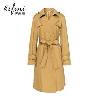 【商场同款】伊芙丽冬装新款韩版纯色中长款修身系带风衣女