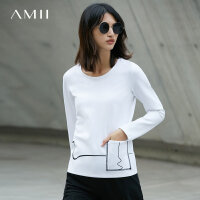Amii[极简主义] 秋装新款涂鸦线印花口袋休闲套头长袖T恤女