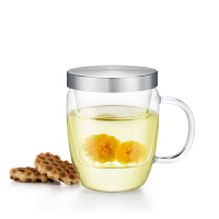 尚明玻璃杯高硼硅耐热带盖过滤花茶 男女士办公个人泡茶杯水杯子玻璃内胆茶杯 S015B