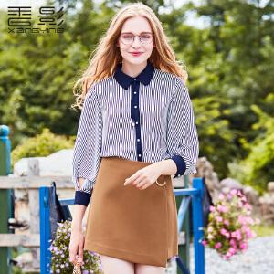 香影条纹衬衫女 2017秋装新款气质系带翻领上衣修身雪纺衬衣长袖