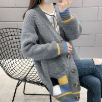 学生风毛织衫针织衫宽松女冬毛衣甜美加厚长韩版长袖加绒毛衣 X