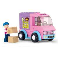 小鲁班积木 拼装益智塑料玩具超市配送车女孩玩具